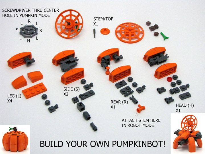 Lego Jack-o-lantern  Chris Maddison's Lego Pumpkinbot Instructions