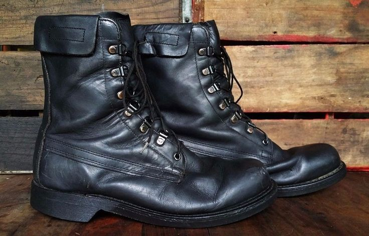 Vintage ADDISON SHOE COMPANY Black Leather Military Jump Biker Boots Men's 8.5D #ADDISONSHOECOMPANY #Boots #Outdoor