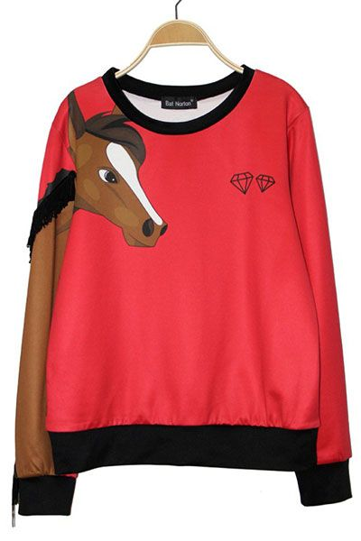 Print Horse with Tassels Pullover in Red