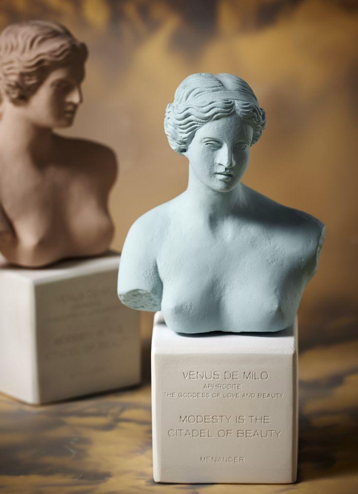 Venus Bust. Statue. Material 100% Ceramine. Color: Vintage Blue & Burnt.