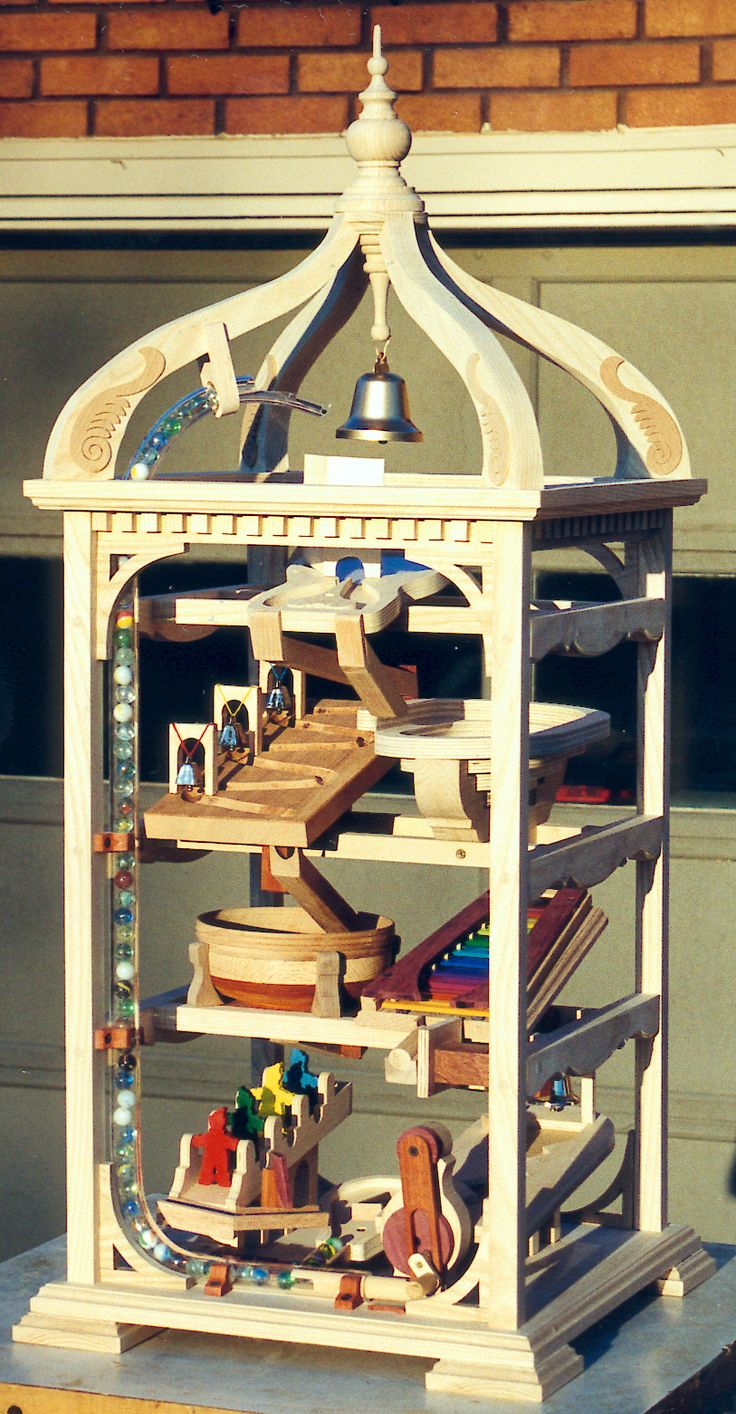 Very cool marble run toy - it feeds the marbles and they go down different ways to play xylophone, move toys, etc. Woodworking plan to build it yourself!