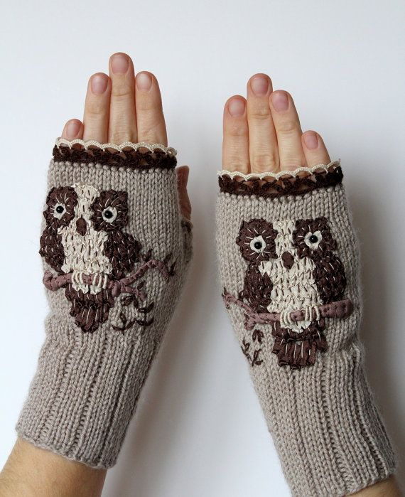 Hand Knitted Fingerless Gloves, Owl, Gift Ideas, For Her, Winter Accessories, Gloves & Mittens, Ribbon Embroidery,Grey, Brown, Ivory