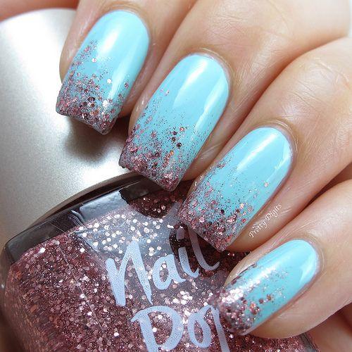 26 Diseños de Uñas en Color Azul y Purpurina - ε Diseños de Uñas Decoradas з
