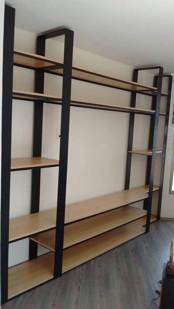 Mueble estilo industrial estante fabricado en madera for Mueble de pared industrial
