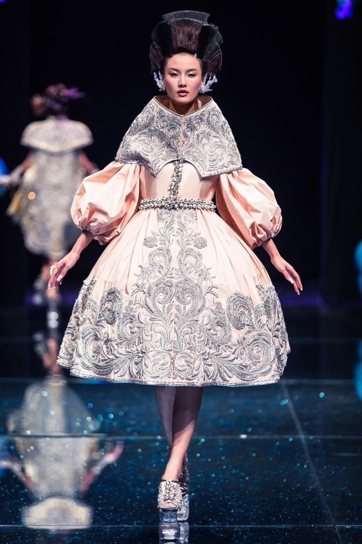 Guo Pei – CHINESE COUTURE...Wow, love the details and silhouette.Take these details & adjust to fit your style.Imagine this in bridal tones & embellishments that fit your wedding theme.Get that designer look by having it custom-made.
