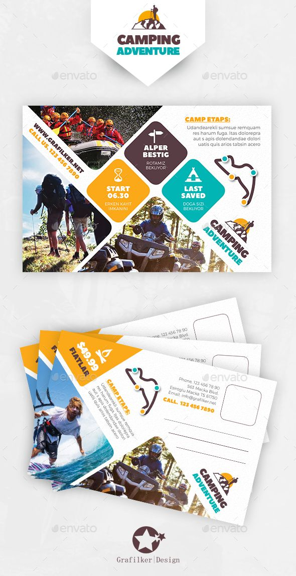 Camping Adventure Postcard Template PSD, InDesign INDD. Download here: http://graphicriver.net/item/camping-adventure-postcard-templates/16658172?ref=ksioks