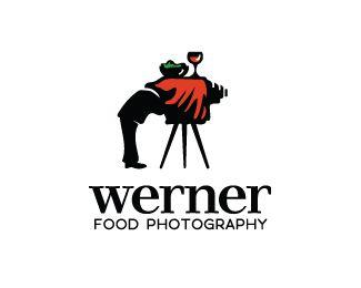 Werner Food Photography - Logo Design - Logomark, Photo Camera, Diner Table, Vintage, Hidden Message, Clever