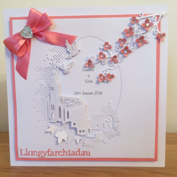 Wedding card - Tattered lace melded church die with cherry blossom branch.
