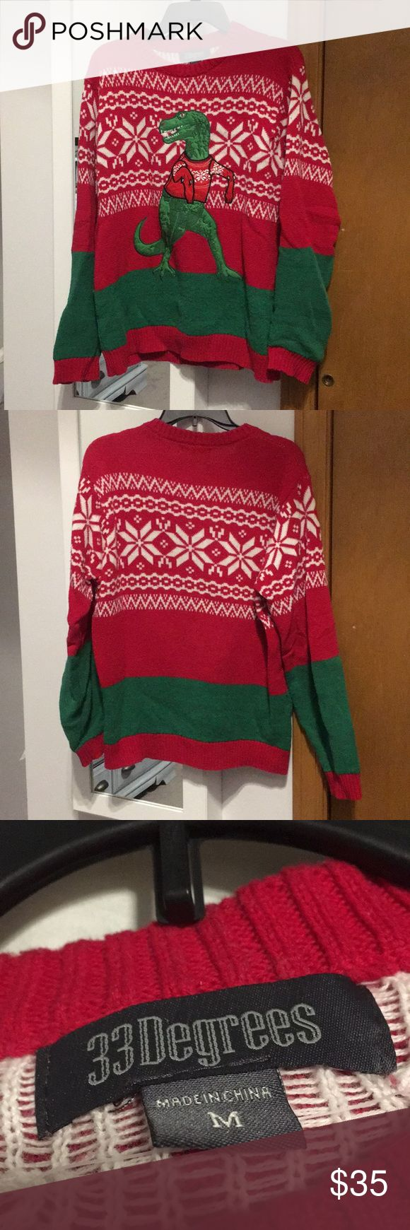 Men Dinosaur Christmas Sweater Men Dinosaur Christmas Sweater  Worn 1x. Excellent condition Size M. Sweaters