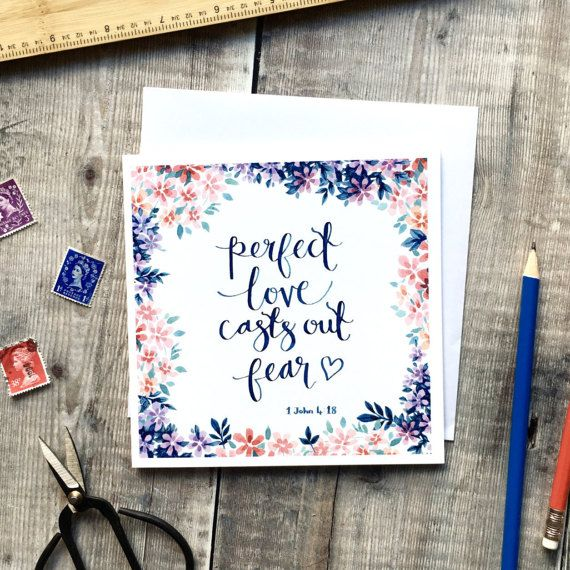 Perfect Love Casts Out Fear  Luxury Square Card  Encouraging