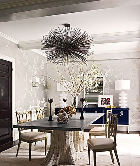 From Art to Lighting — How To Decorate Like an It Girl// Jean be Merry light, tree trunk dining table, modern white lamps: Dining Rooms, Trees Trunks, Lights Fixtures, Elle Decor, Tables Based, Sea Urchins, Trees Stumps, Design, Dining Tables