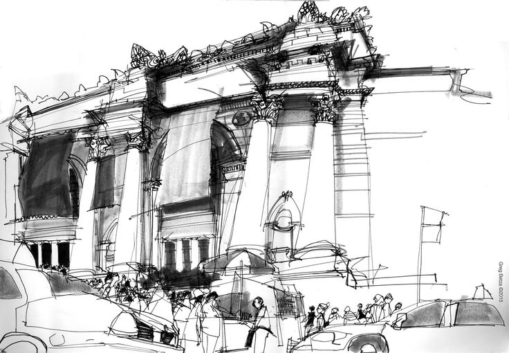 reportage drawing by Greg Betza