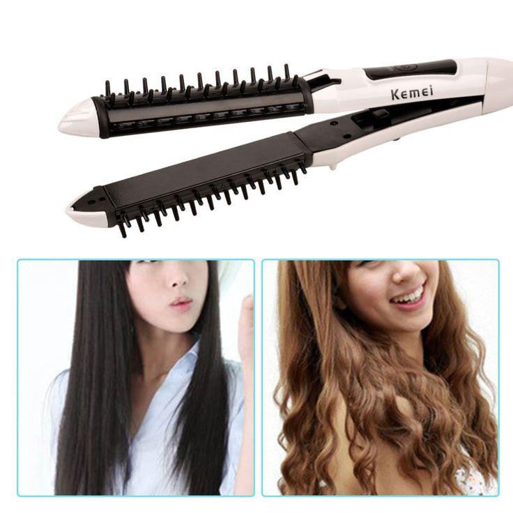 2 in 1 Professional Hair Straightening Straightener Iron Curling Curler Wand…