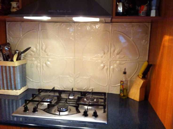 Recycled pressed tin splash back