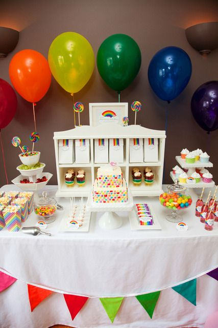 I am constantly amazed by the Over-the-top party ideas  at CatchMyParty.com.  Here is one with a little Rainbow flair