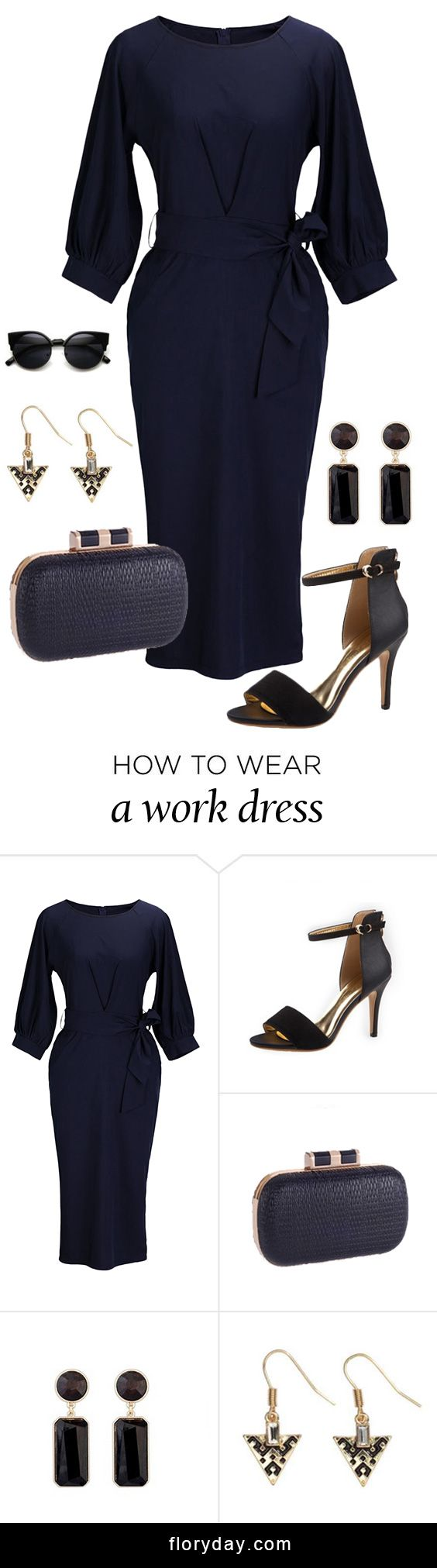 Looking for a special dress for work? This mid-calf elegant dress will never be wrong. Team it with high sandals for work wear that wows - the opportunities are endless with this wardrobe essential.View more at www.floryday.com.
