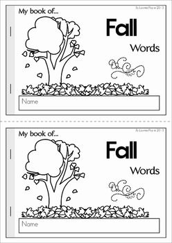 My Book of... Autumn / Fall Words. A half-page vocabulary booklet to make learning new words fun! Great for a fall writing center!