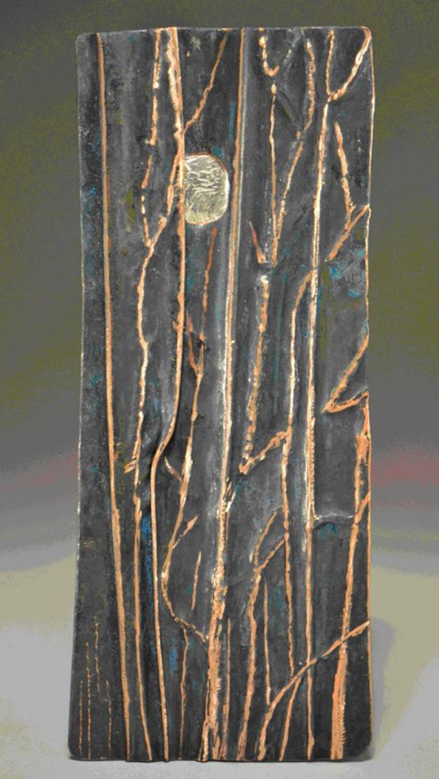 This wonderful metal artwork will be excellent inspiation piece for thise of us working in clay using my local birch twigs (see comments for info on original artist)