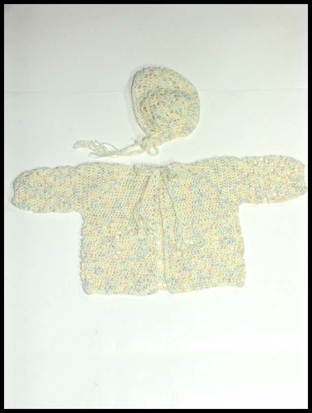 """Diamond Cascade"" sweater & hat, sz 3 mos., $25"