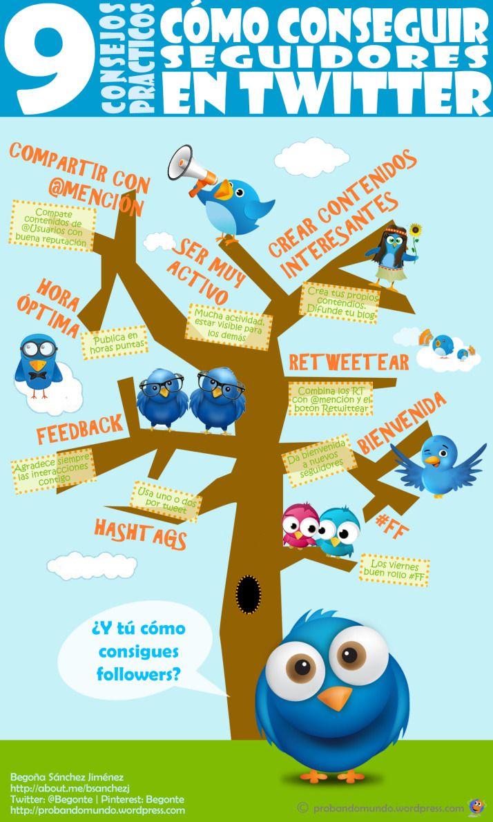 9 consejos para conseguir seguidores en Twitter #infografia #infographic #socialmedia