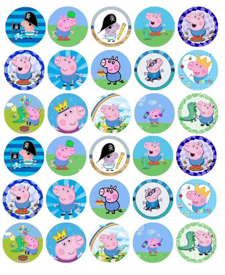 George peppa pig premium edible birthday cupcake topper decoration x 30 pre cut