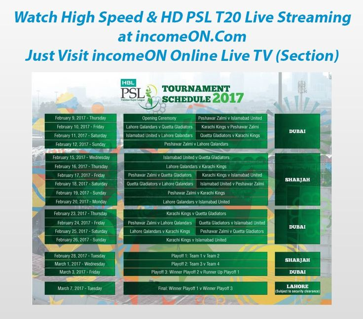 Watch PTV Sports - PSL T20 Live Cricket HD Streaming Only at incomeON.Com Find the latest matches schedules and interesting comments of cricket lovers from all over the world. Just SignUP >>Go to your incomeON Profile >> Go to Online TV Section (from the Profile Left Hand Side Bar Menu) then Finally select the PTV Sports for HD Live Streaming of Pakistan Super League latest matches.