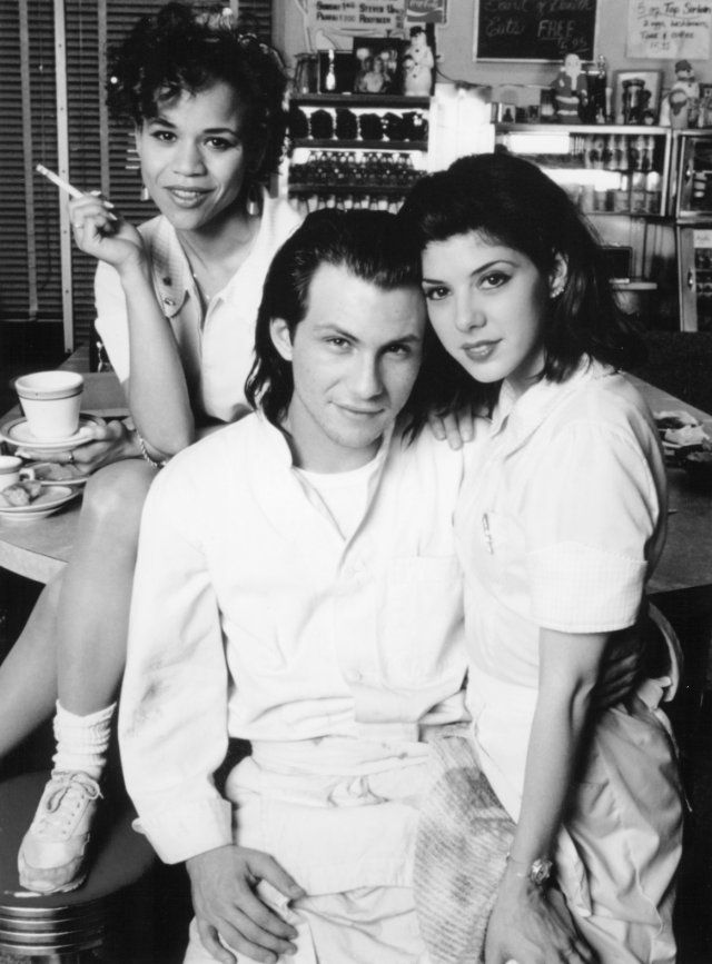 """Still of Christian Slater, Marisa Tomei and Rosie Perez in Untamed Heart  """"magic records & a baboon heart, you almost got me believing in it.""""  """"i was good at loving him""""  """"I will wish on Mars & think of you, I carry your heart w/me...i'm not finished, i carry it in my heart."""""""
