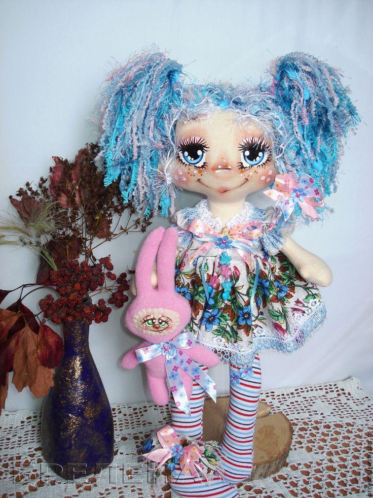 """Купить Текстильная кукла """"Милая Зайка"""". Интерьерная кукла. - голубой, интерьерная кукла, текстильная кукла"""