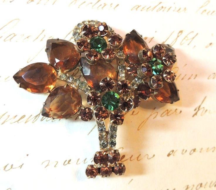 Vintage Juliana Brooch Pin D&E Flower Rhinestone Vintage Jewelry