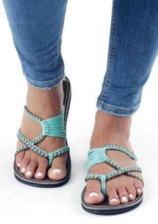 242786646227 Summer Splicing Flat Sandals - Fairyseason Bohemian Sandals