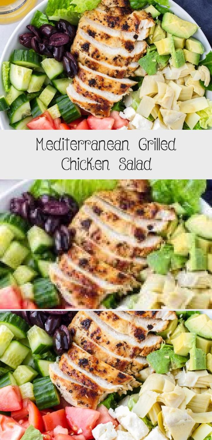 The best Mediterranean Chicken Salad! This Mediterranean grilled chicken salad is made with juicy a flavorful grilled chicken breast, complete with a mediterranean red wine dressing. Tossed feta, olives, avocado, and artichokes #cookingformysoul #mediterraneansalad #mediterraneandiet #grilledchickensalad #grilledchicken #mediterraneangrilledchicken   cookingformysoul.com #Romainesaladrecipes #MasonJarsaladrecipes #Potatosaladrecipes #Chefsaladrecipes #Orzosaladrecipes