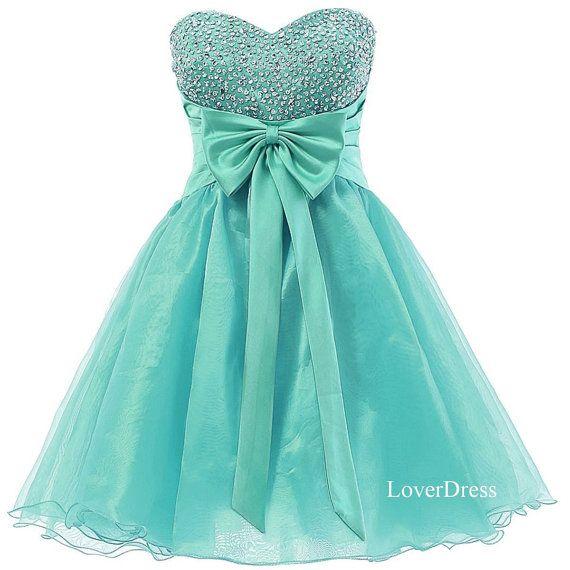 Mint Homecoming Dresses, Sweetheart Sweet 16 Dress, Organza Short Cute Homecoming Dresses / Party Dresses / Prom Dresses