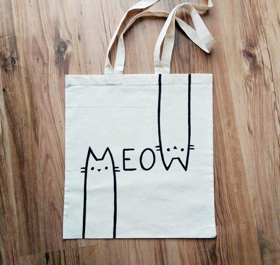 ef8238a53b MEOW TOTE BAG, cat bag, cat lover, cat gifts, cat lady, personalized bag,  hand painted, shopping bag, reusable bag, gift for her #BolsaDeTela  #HandPainted ...