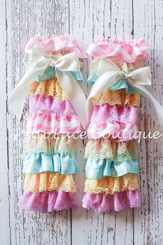 Multi color/ Easter leg warmers lace leg by PettiLaceBoutique
