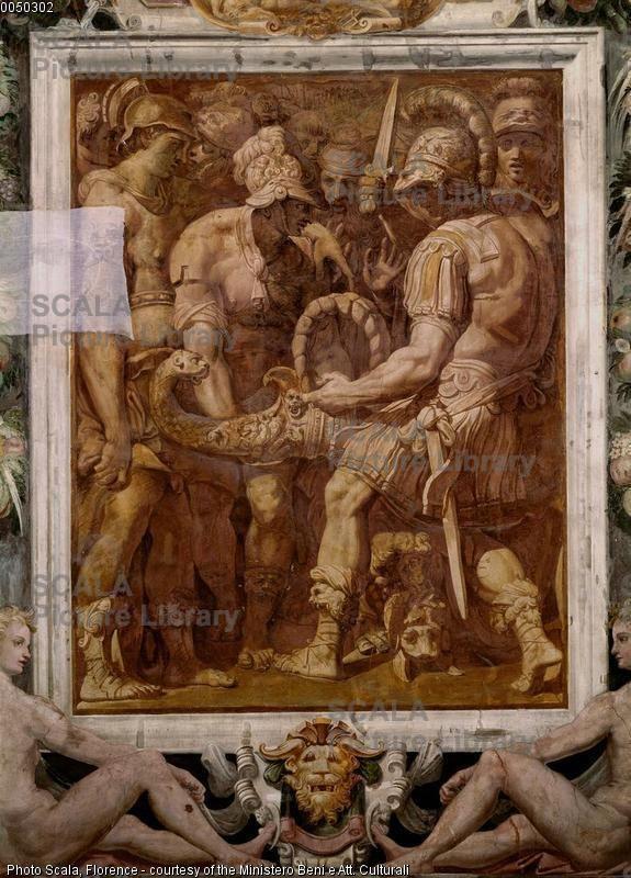 Alessandro scioglie il nodo di Gordio, Sala Paolina, monocromi sulle pareti lunghe con storie di alessandro