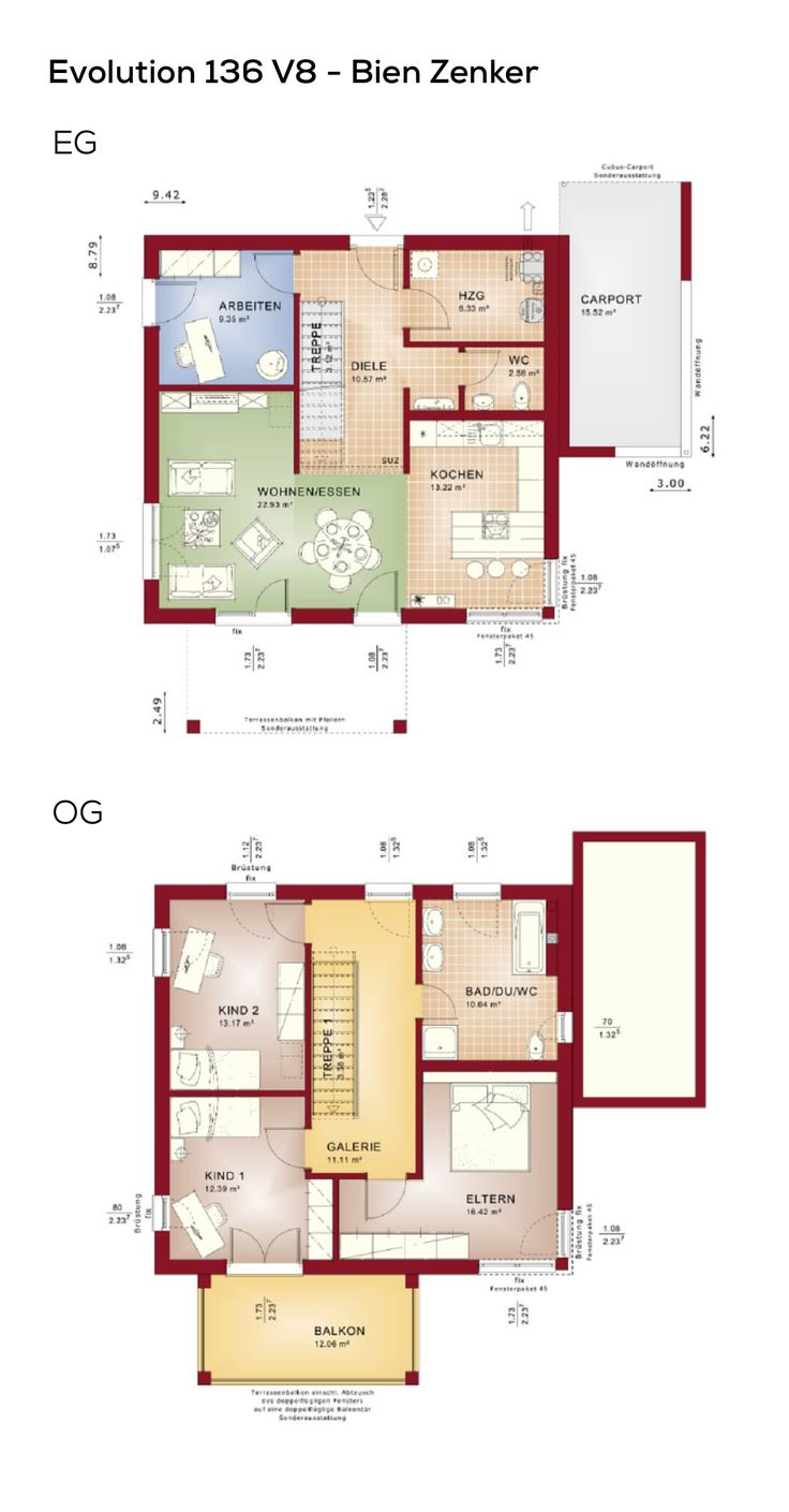 Einfamilienhaus Grundriss mit Carport & Pultdach