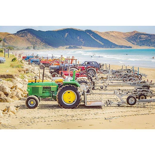 What a great shot from @rubenjuddsmith #GreatThingsGrowHere ・・・ Tractor line up. . . . . #photography #tractors #beach #beachview #beachday #myphotography #nz#hawkesbay #nzboating #waimarama #photooftheday #beachshots #nzcoast