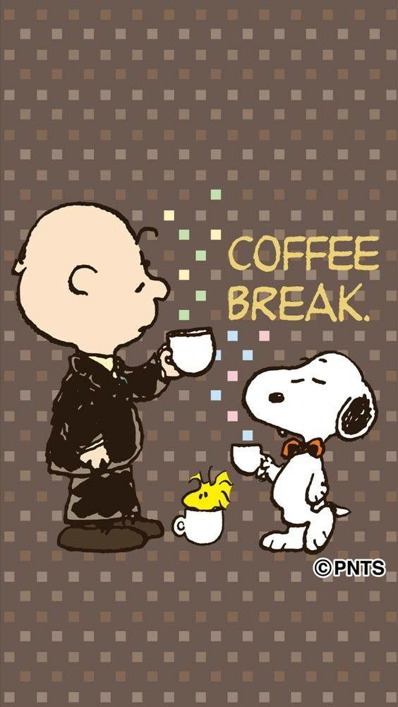 Snoopy and Charlie Brown Coffee break, late morning, early afternoon, time for break