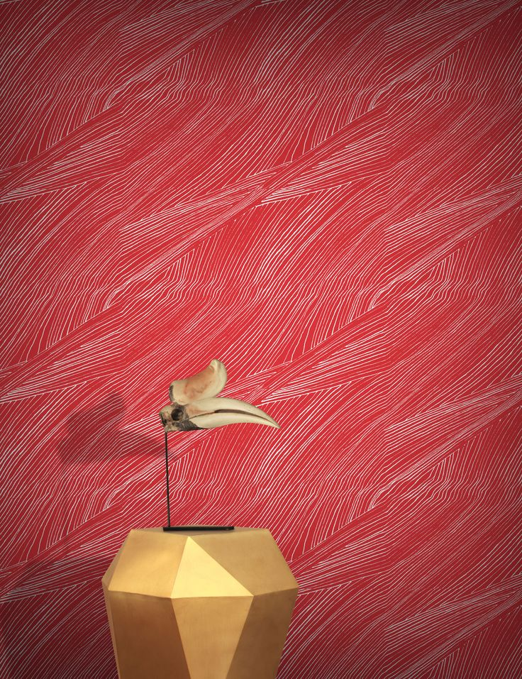 The Moat Wallpaper | Red | Monument Interiors