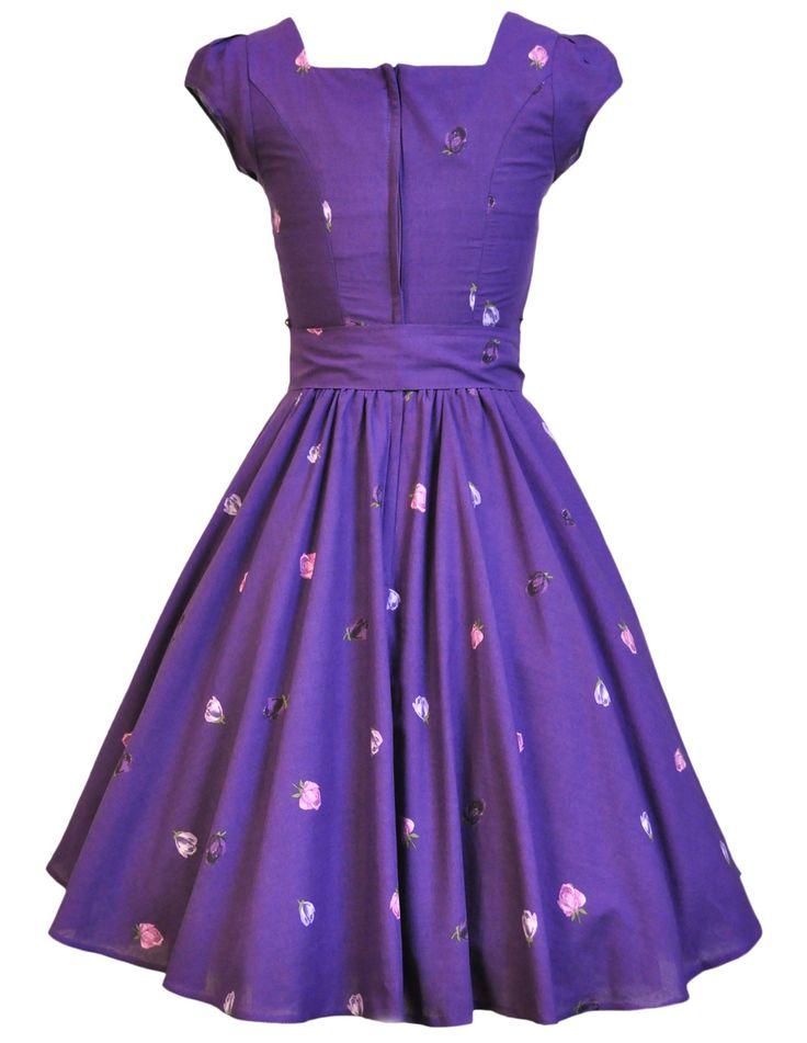 Lady V Londýně Purple s Ditsy květinové šaty Tisk Swing