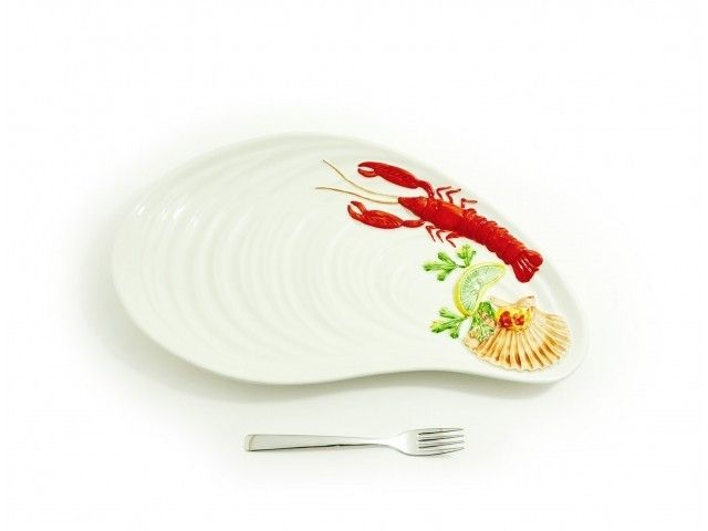 PÓŁMISEK CERAMICZNY MUSSEL 47 CM #półmisek #zastawa #dish #fruttidimare #seafruit #owocemorza #shrimps #prawn #krewetki #cancer #white #sea  #onemarket.pl #italian #ceramics #ceramika #włoska #italiano #italianfood