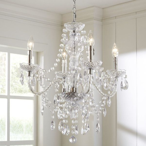 Features:  -Imported.  -Crystals are plastic.  -Plug-in: Yes.  Product Type: -Mini chandelier/Crystal chandelier.  Finish: -Chrome.  Material: -Metal/Other.  Number of Lights: -4.  Wattage: -60 Watts.
