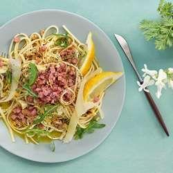 Sitruspasta med Gilde smårettbacon og parmesan