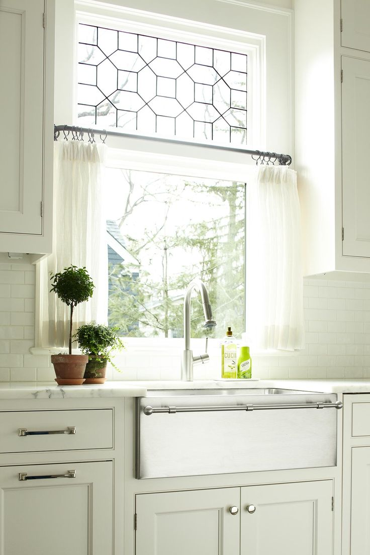 White Marble Countertops And A Fabulous Farm Sink With Towel Rack Love The Leaded Window Above The Cafe Curtains