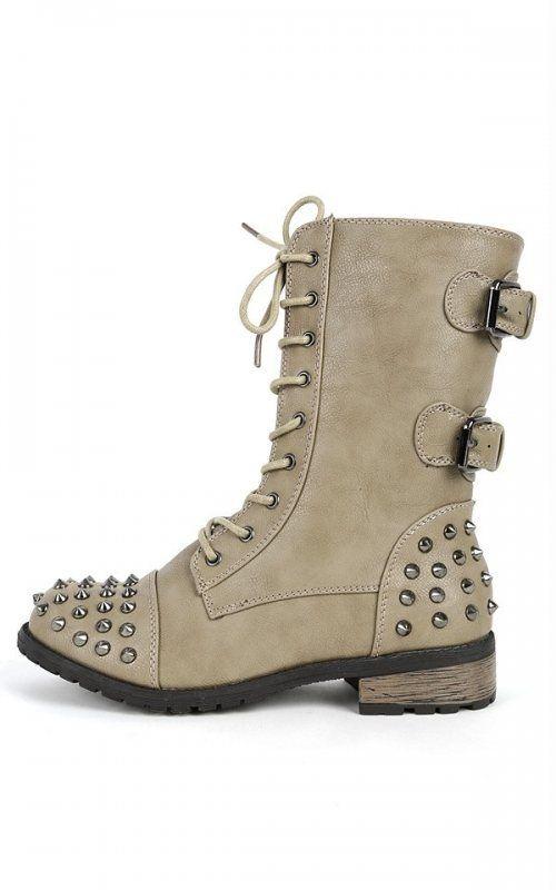 e1c0acd0c3557 Girls Stone Buckle Spiked #Combat #Boots - #Mango-66   Ebuybit Fast ...