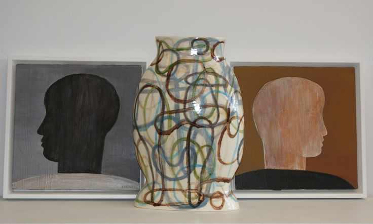 John Eaden - profiles, acrylic on canvas and Christine Thacker - loop vase