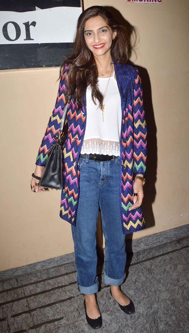 Sonam Kapoor all smiles at the screening of 'Khoobsurat' held at PVR Cinemas in Juhu.