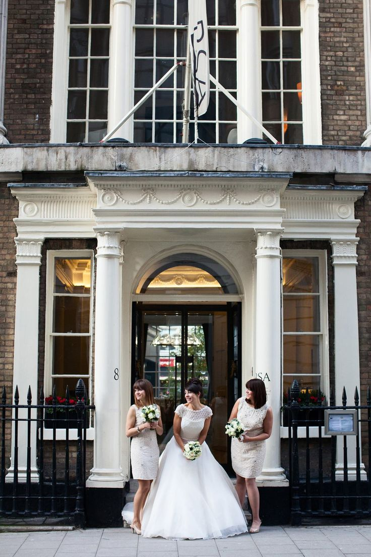 top ten wedding venues in cape town%0A Gemma  u     her bridesmaids outside RSA House RSA House London Wedding