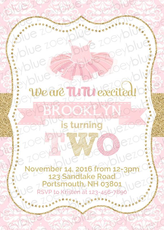 Tutu Birthday Invitation Ballerina Ballet 1st by ZoeyBlueDesigns