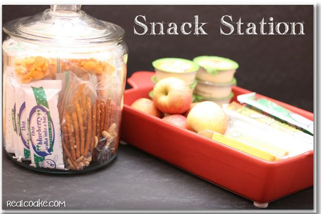 Ideas for healthy snacks for kids as well as storage solutions and organization ideas from www.realcoake.com